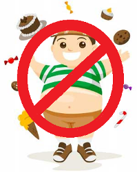 Picture of a boy with prohibited food